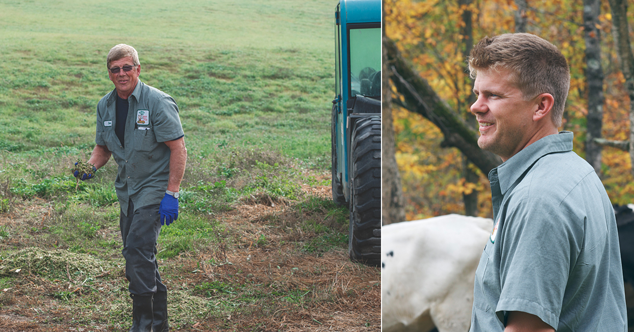 Left: Don checking the land. Right: Seth with the cows out in the fields.
