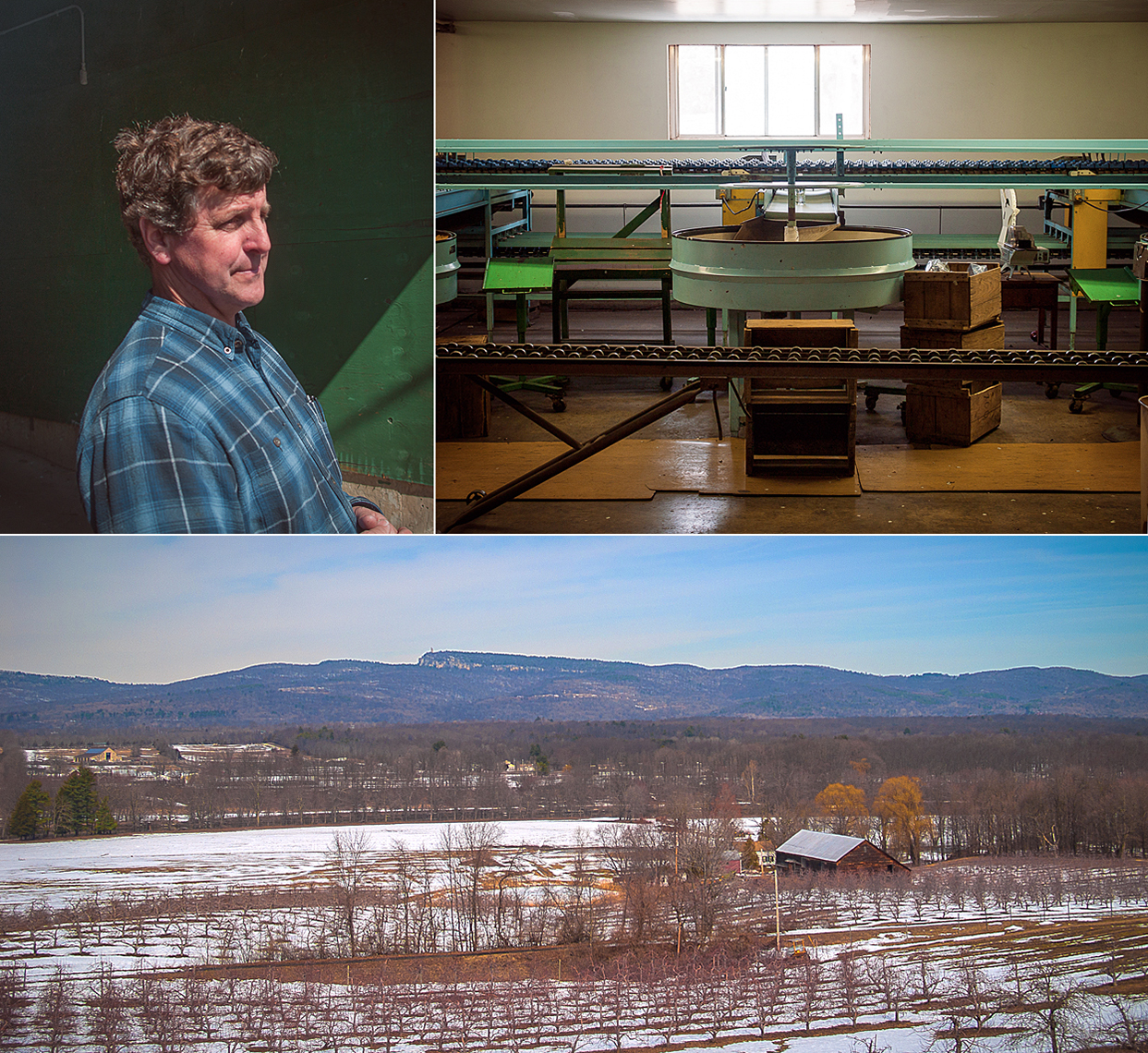 """Clockwise from top left: Rod Dressel Jr.. The sorting line on a rare day off. A winter's view of the """"Gunks""""."""