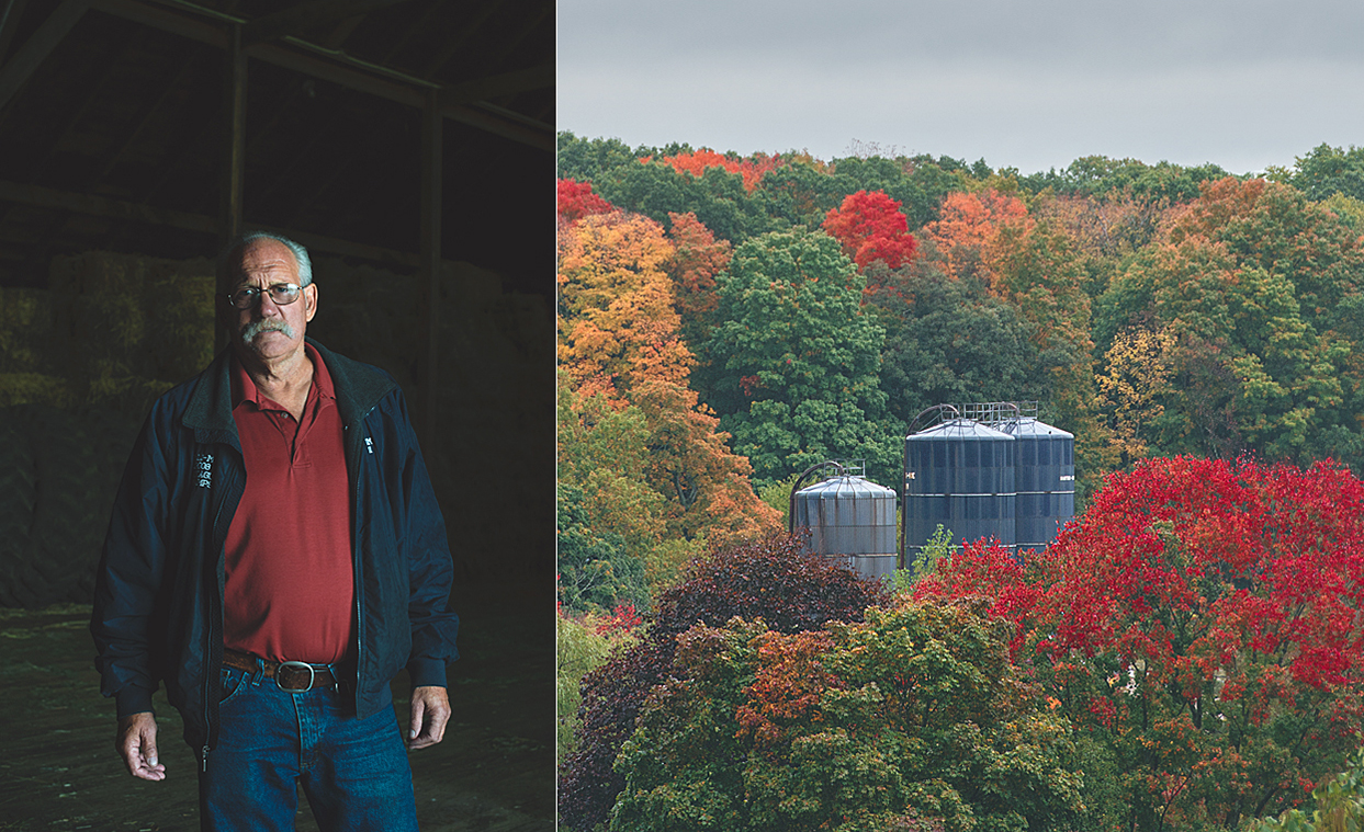 Left: Jim Stearns. Right: Silos amongst the mountain foliage.