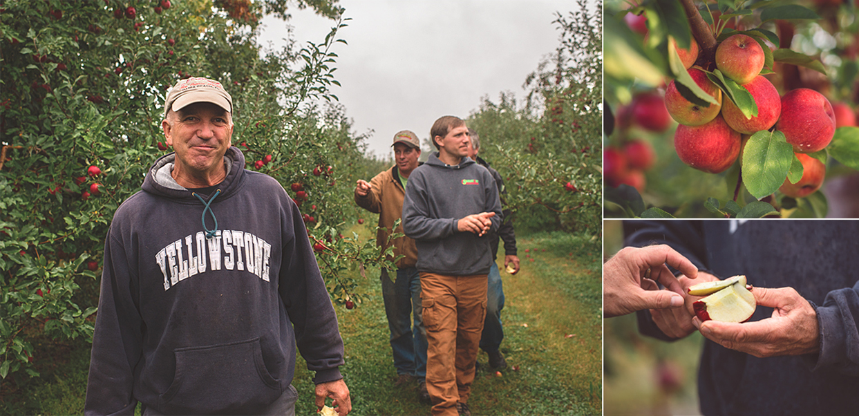 Clockwise from the Left: Jake's Dad's name leading the way on a quick inspection. Breed name of this apple. Sampling the season's first Snapdragons.