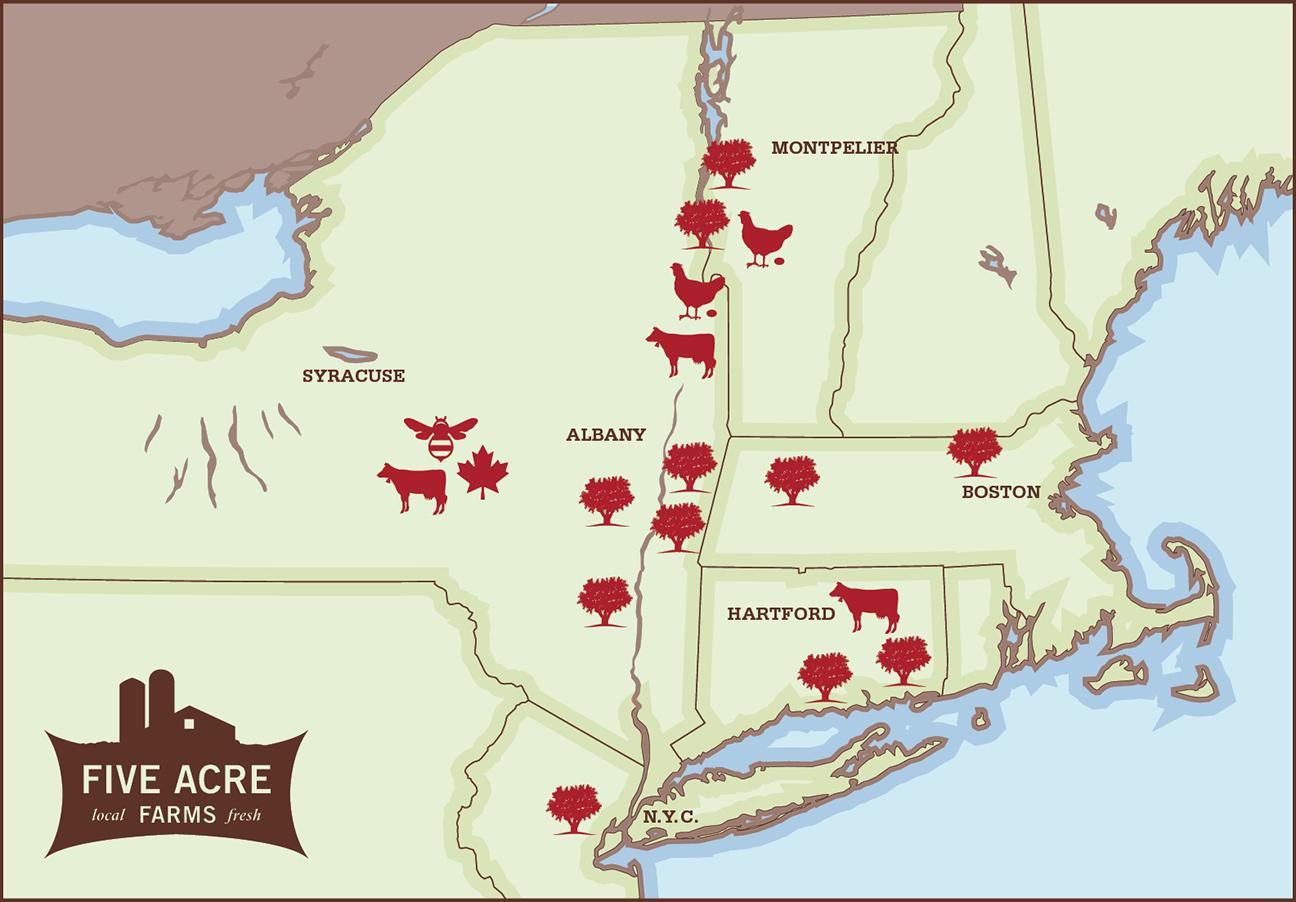 Five Acre Farms Map